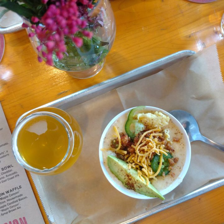 Southwest Grit Bowl (chorizo, cage-free egg, cheddar, housemade salsa, jalapeno, + avocado), + Juicy Jay (East Coast IPA)