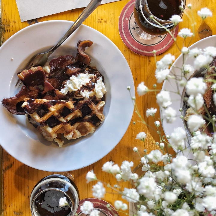 Maple Canyon Waffle (Belgian waffle, chocolate reduction, + Chantilly cream), Maple Candied Bacon, + Maple Canyon Brew