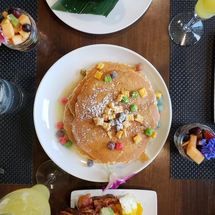 Jumbo Cap'n Crunch Pancakes (vanilla milk reduction, sugar) at Fahrenheit Charlotte brunch in North Carolina