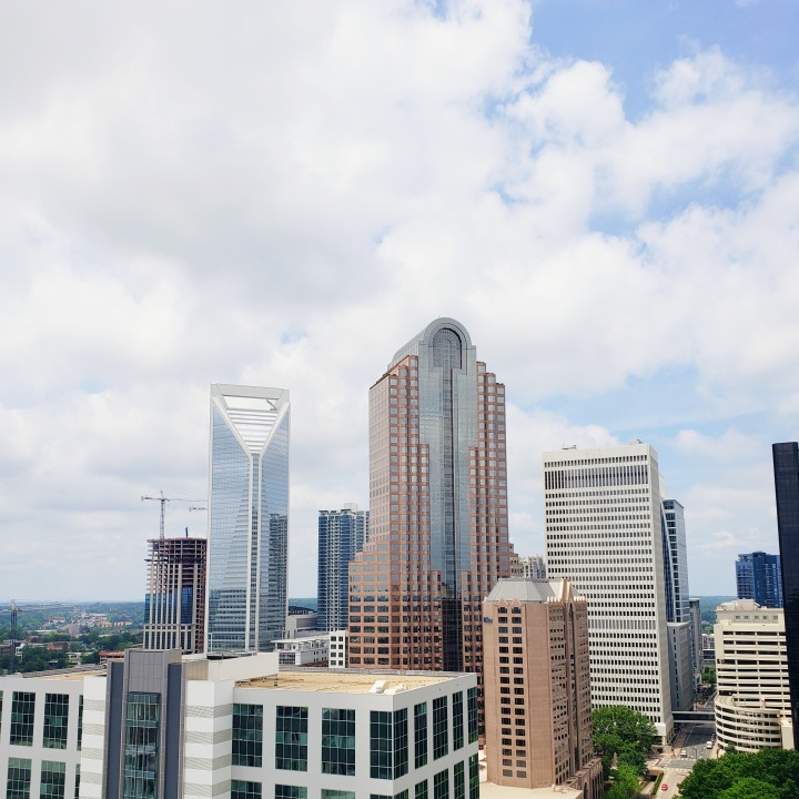 Daytime skyline view of Uptown, from Fahrenheit Charlotte in North Carolina
