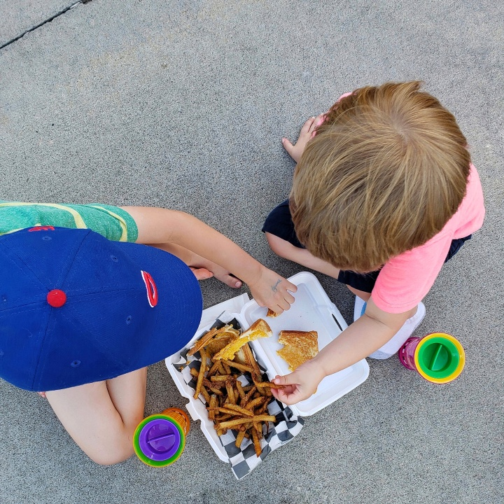 Kids Grilled Cheese and Fries from Nan's Porch Food Truck at D9 Brewing Company Summer Concert Series in Cornelius, NC
