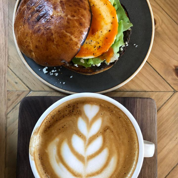 Breakfast Sammy and Latte from Basal Coffee in Charlotte, NC
