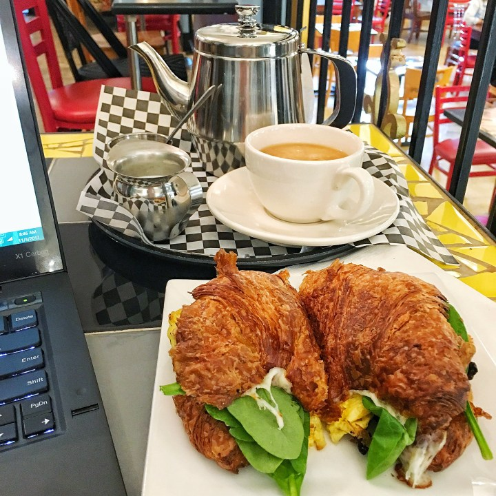Breakfast Croissant Sandwich + Pot de thé from Amélie's in Charlotte, NC