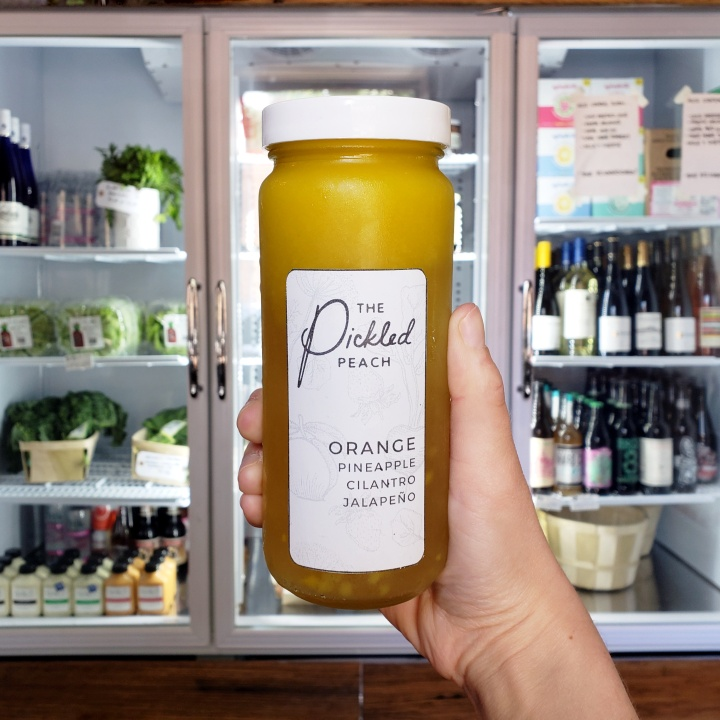 Orange, pineapple, cilantro and jalapeño cold-pressed juice at the Pickled Peach in Davidson, NC
