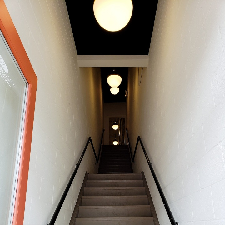 Staircase to The Gallery, off of Main Street in Davidson, NC