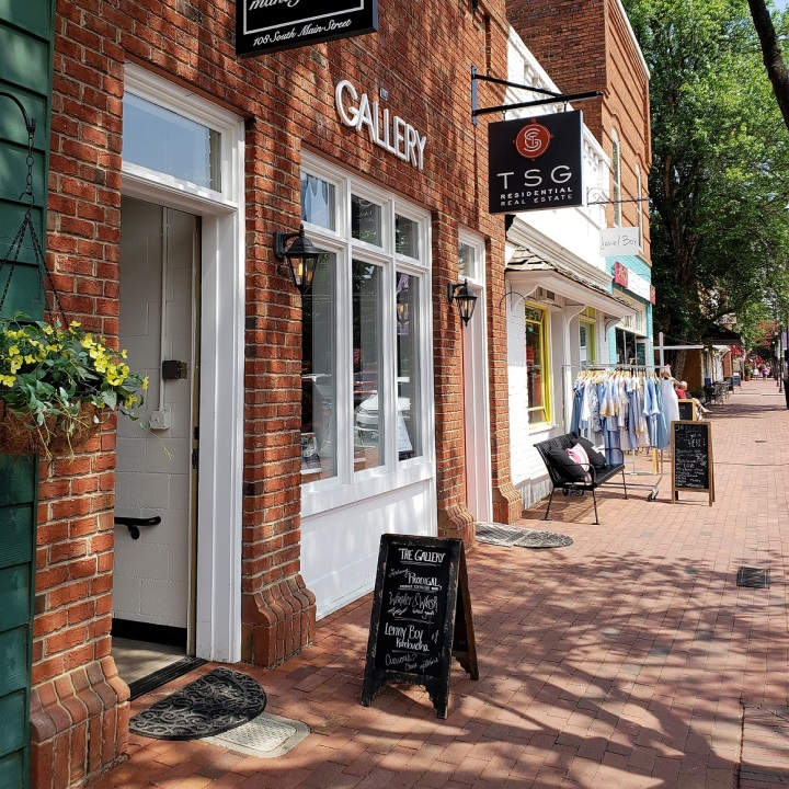 Entrance to The Gallery from Main Street in Davidson, NC
