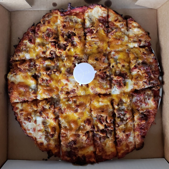 Bacon Cheddar Cheeseburger Pizza from Massey's Pizza in Pawley's Island, SC
