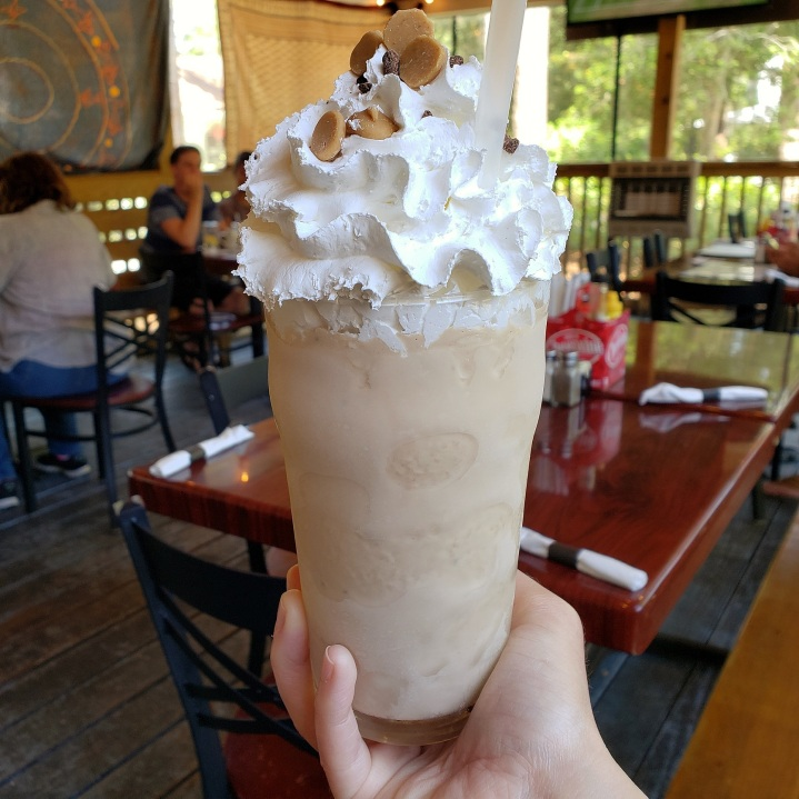 The Nutty Cup at BisQit in the Hammock Shops Village, Pawley's Island SC (vanilla ice cream, chocolate chips, peanut butter, chocolate syrup, and Frangelico)