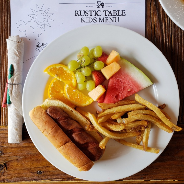 Justin's dog, french fries, and fruit at Rustic Table in Pawley's Island, SC