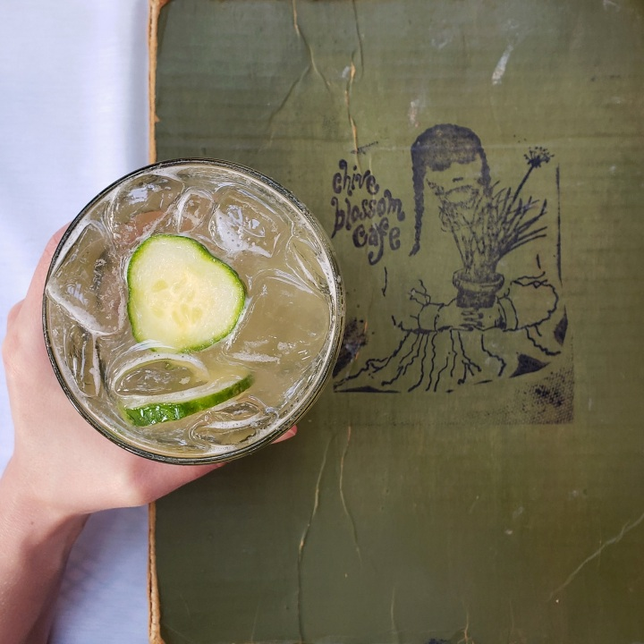 Washed Out at The Chive Blossom Cafe in Pawley's Island, SC (Dixie vodka, cucumber sugar, fresh lemon juice, Washed Out Wheat)