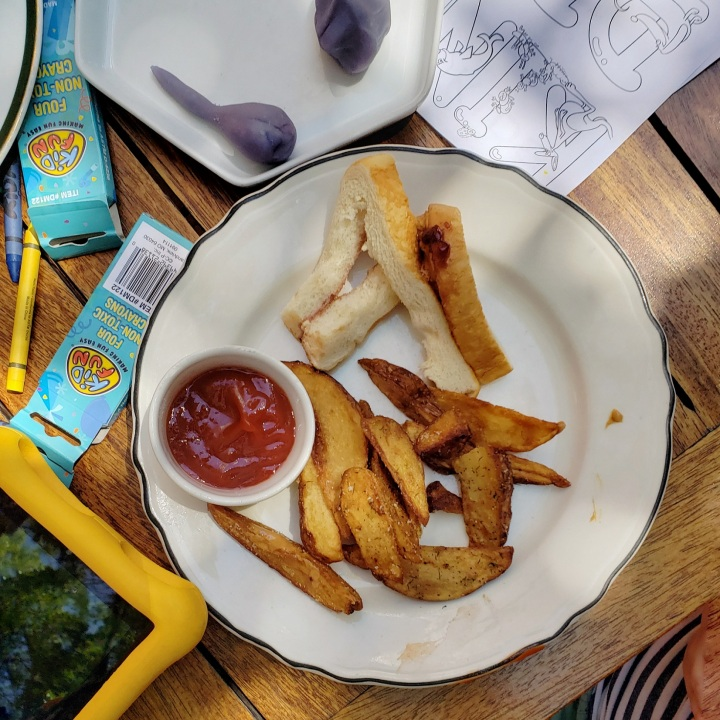 Remains of kids' PB & J (peanut butter and seasonal jam, with fries) at Kindred restaurant in Davidson, NC