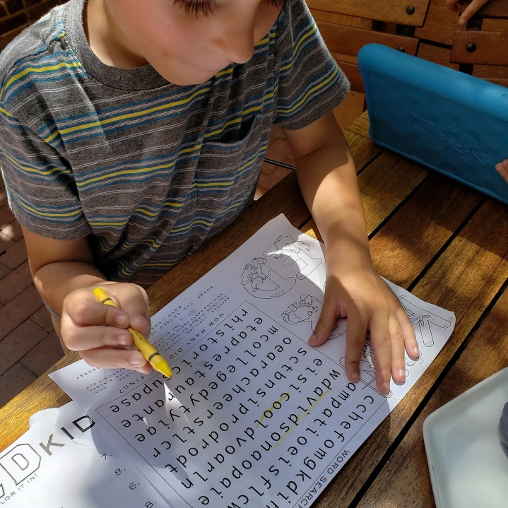 Word search on the kids menu at Kindred restaurant in Davidson, NC