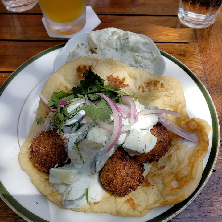 Falafel (yogurt cucumbers, garlic hummus, whole wheat nann) at Kindred restaurant in Davidson, NC