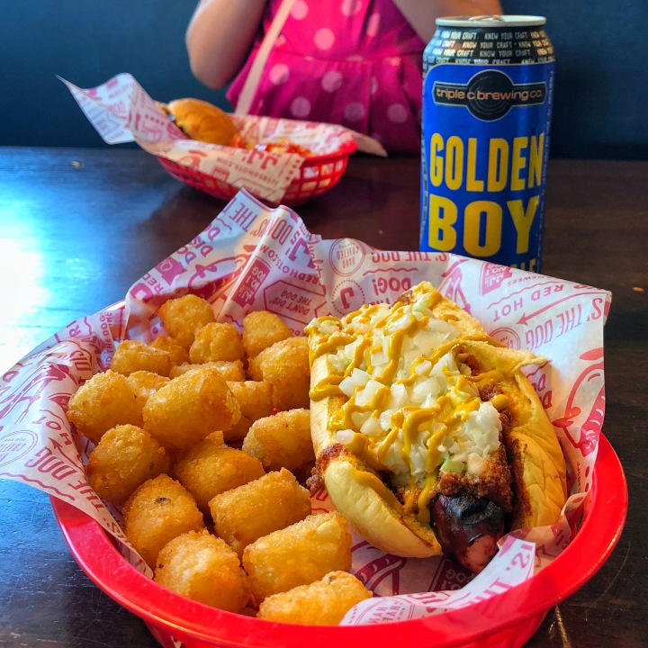 The Char Heel Dog and tots from JJs Red Hots